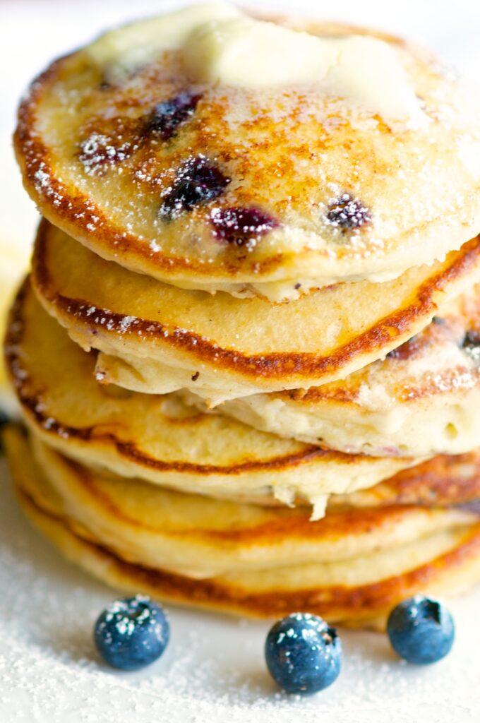 Lemon Ricotta Pancake Stack Close Up