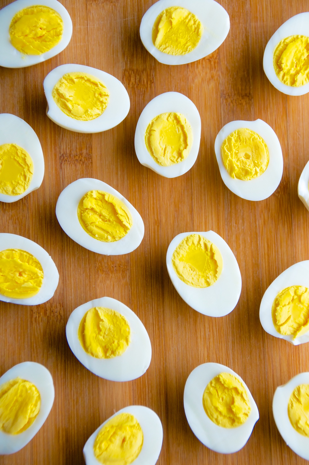 Sliced hard boiled eggs