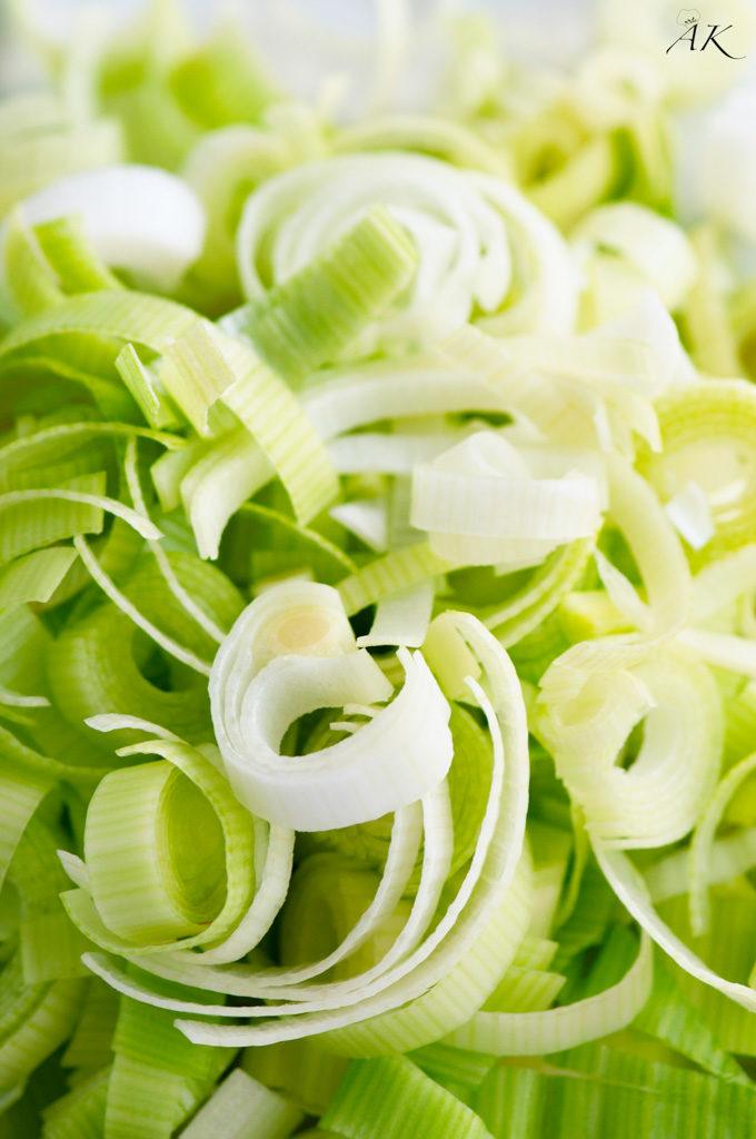 Fresh sliced leeks