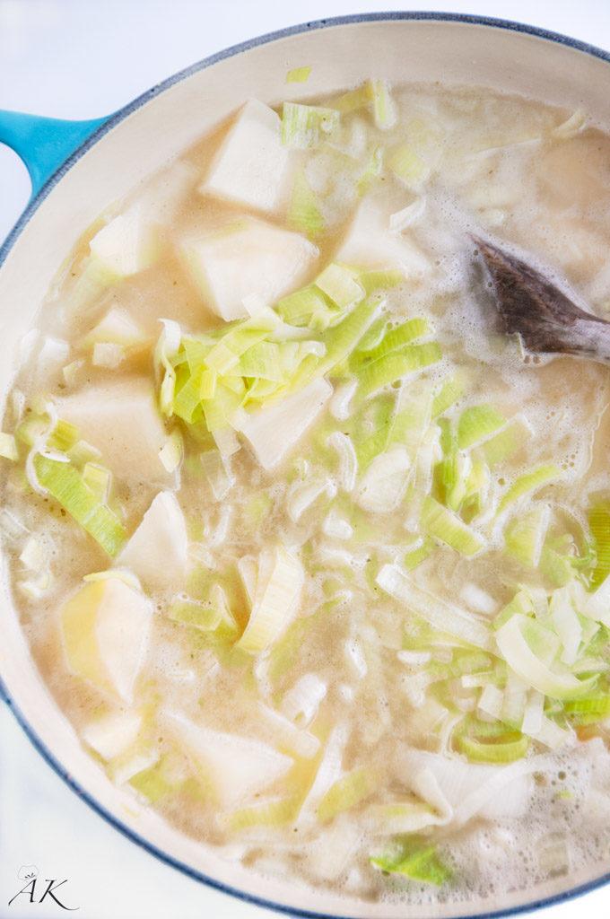 Potato Leek Soup in Pot