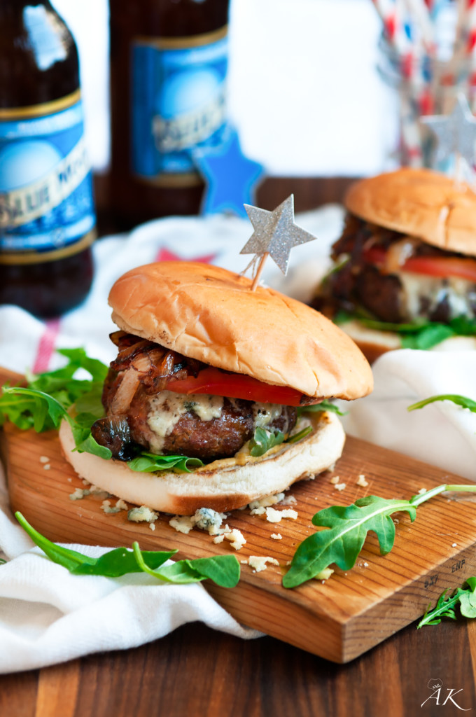 Caramelized Onion Blue Cheese Burgers