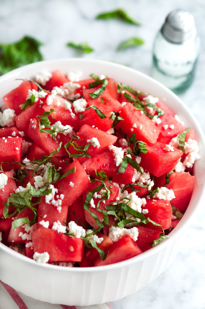 Summertime Basil Watermelon and Goat Cheese Salad