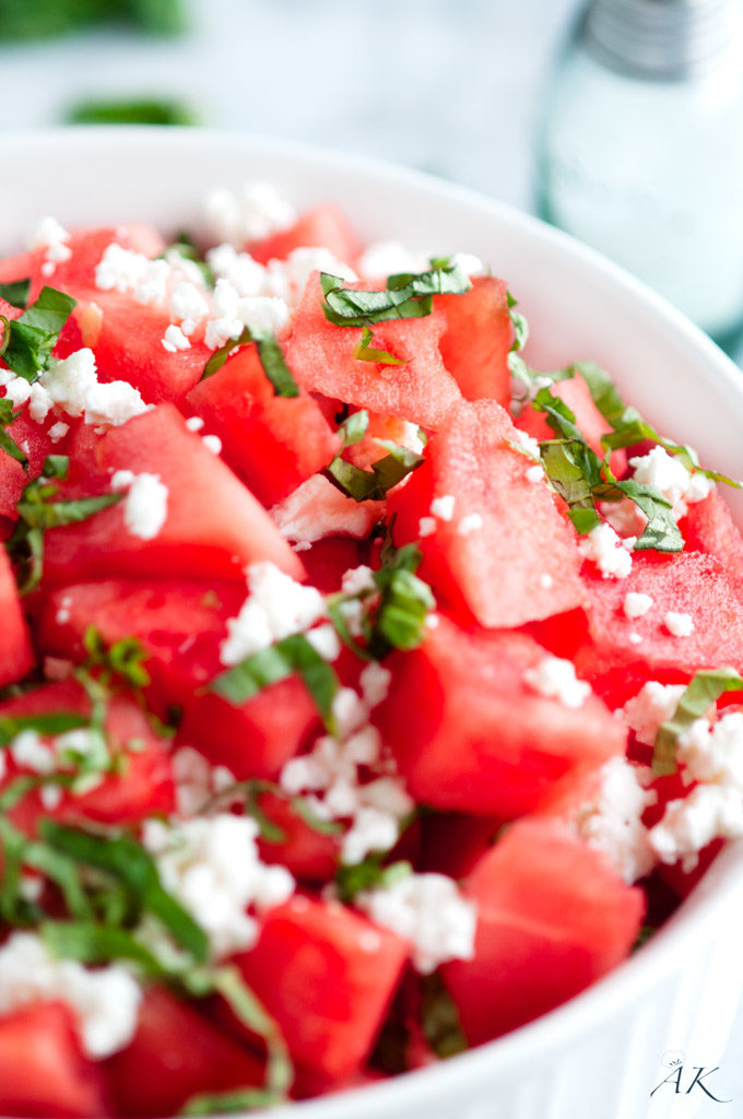Summertime Basil Watermelon and Goat Cheese Salad close up
