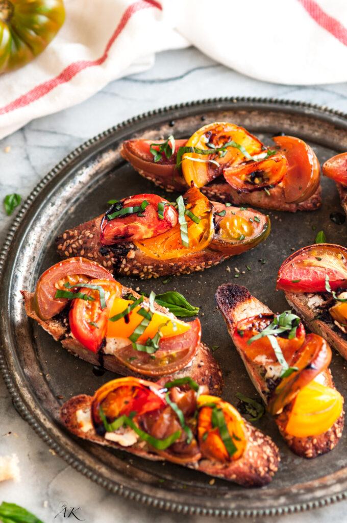 Roasted Heirloom Tomato Basil and Goat Cheese Bruschetta