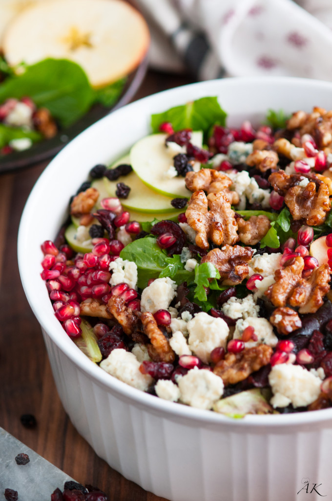 Autumn Apple and Pomegranate Salad with Homemade Candied Walnuts