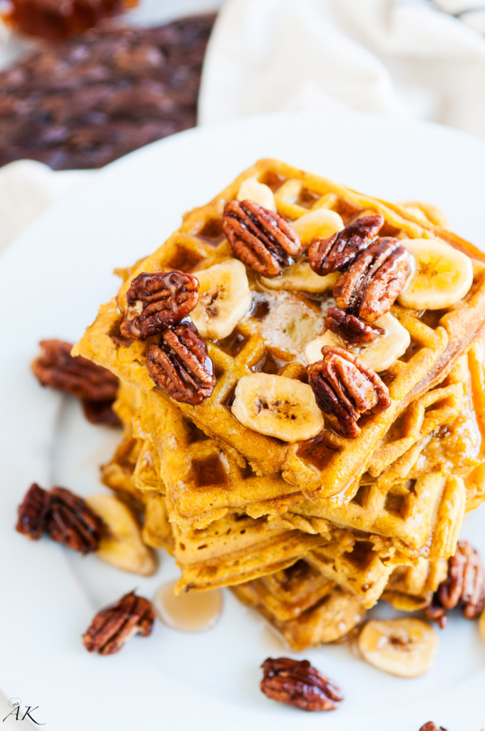 Pumpkin Spice Waffles with Candied Pecans | aberdeenskitchen.com