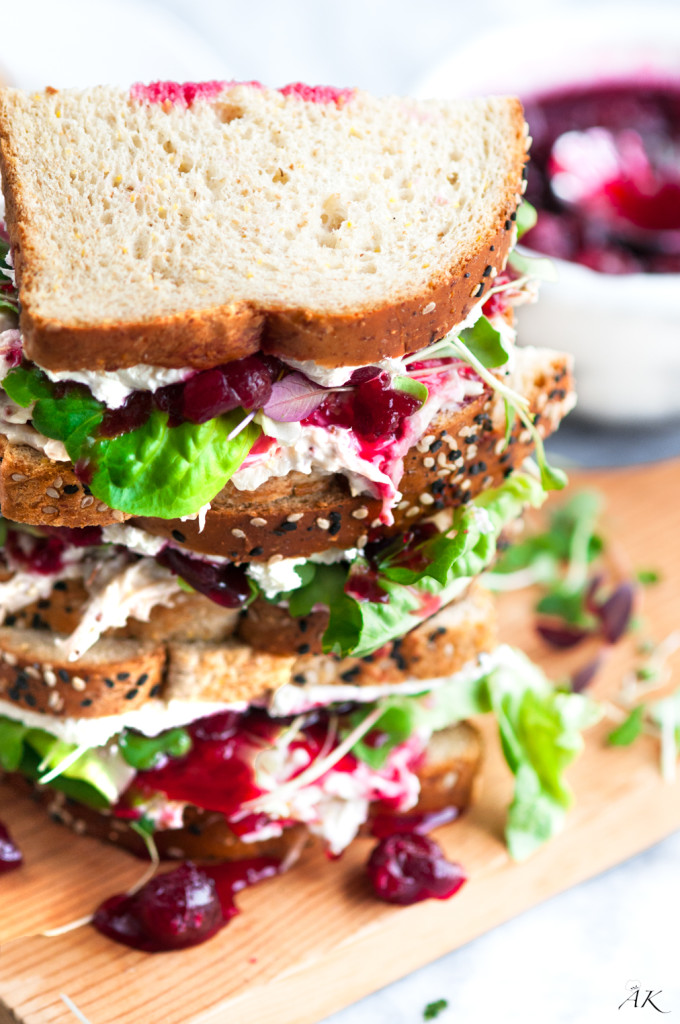 Cranberry Cream Cheese Turkey Salad Sandwich