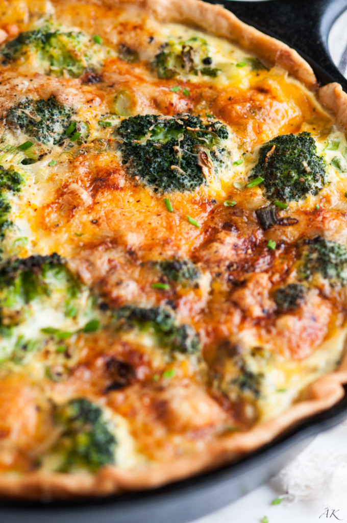 Cheesy Broccoli Green Onion Quiche
