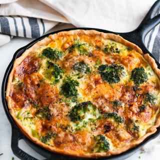 Cheesy Broccoli Green Onion Quiche