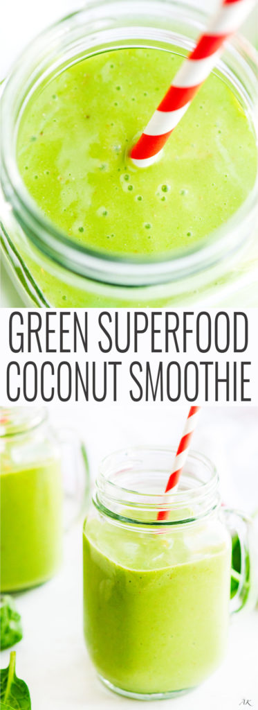 Superfood Green Coconut Smoothie - A refreshing and light 5 minute coconut and spinach smoothie with a flax seed boost | aberdeenskitchen.com