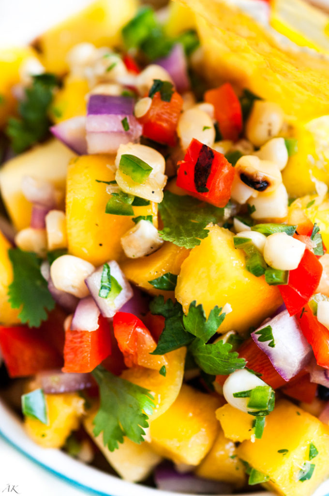 Grilled Corn and Bell Pepper Mango Salsa| aberdeenskitchen.com