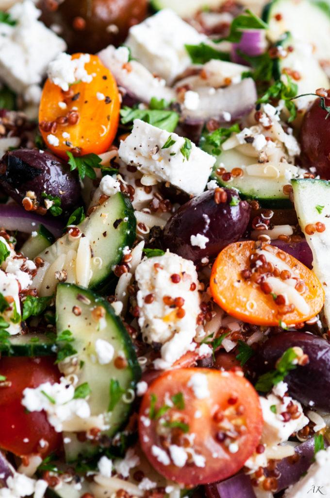 Quinoa Orzo Greek Salad | aberdeenskitchen.com