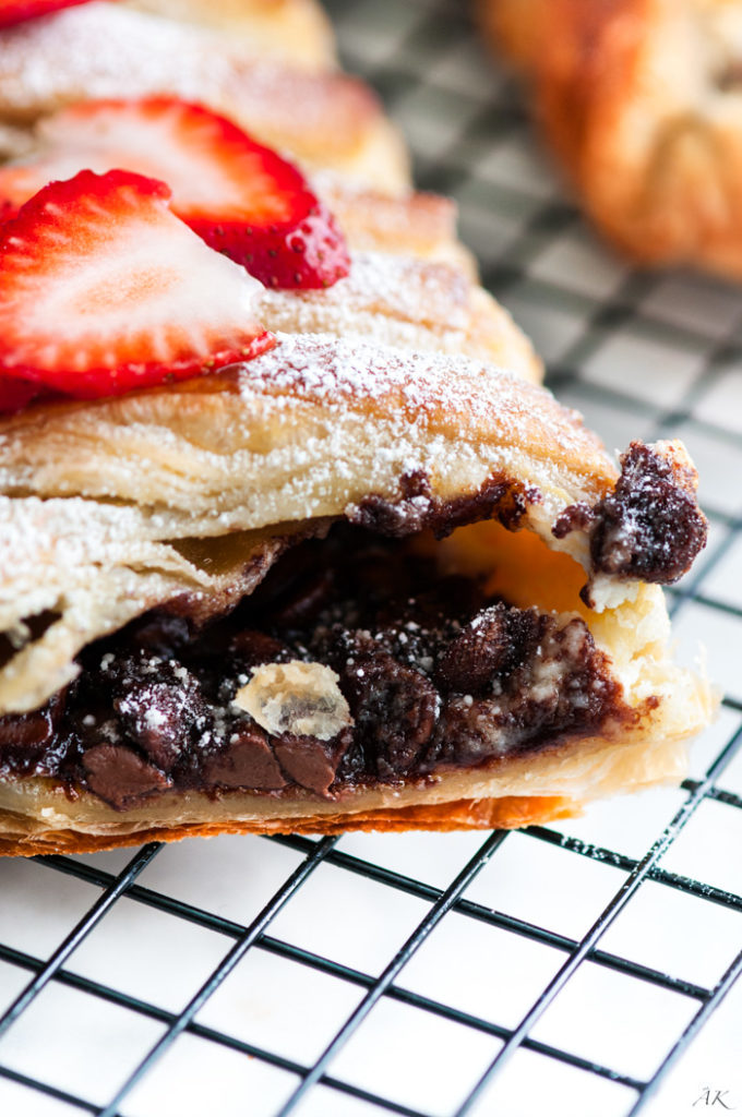 Chocolate Stuffed Puff Pastry Braid