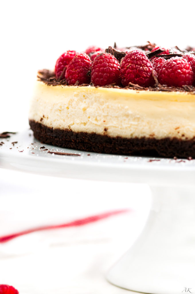 Dark Chocolate Raspberry Cheesecake | aberdeenskitchen.com