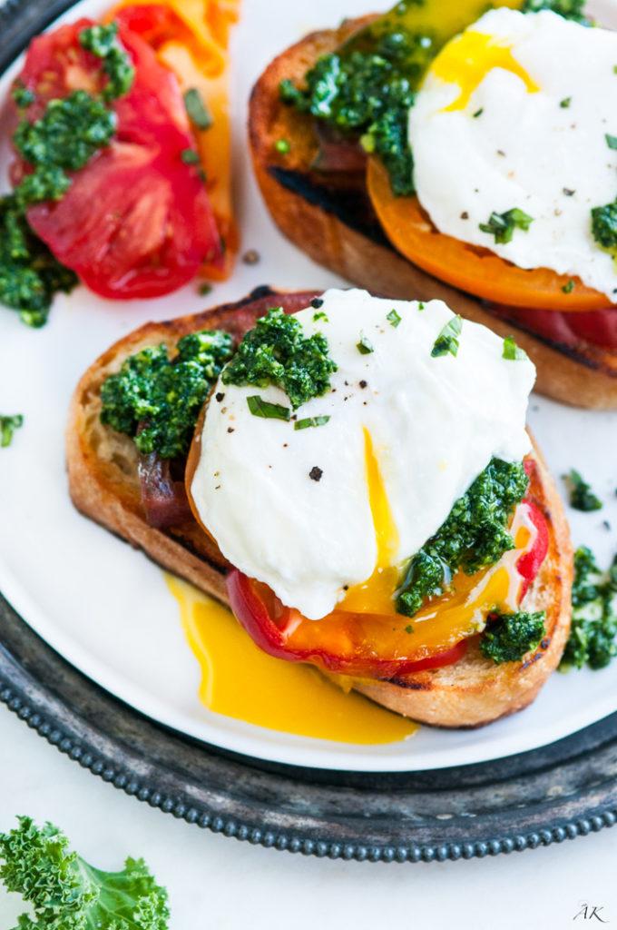 Kale Basil Pesto Breakfast Toast | aberdeenskitchen.com