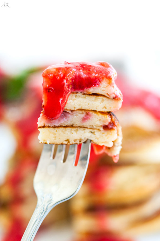 Strawberry Rhubarb Buttermilk Pancakes | aberdeenskitchen.com