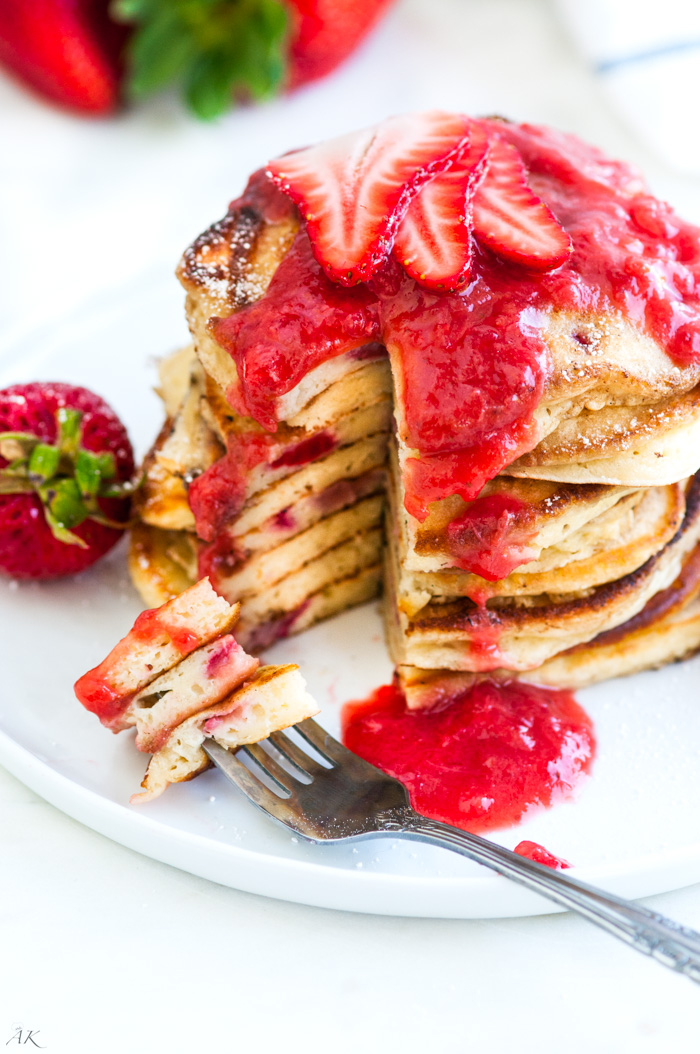 Strawberry Rhubarb Buttermilk Pancakes - Aberdeen's Kitchen