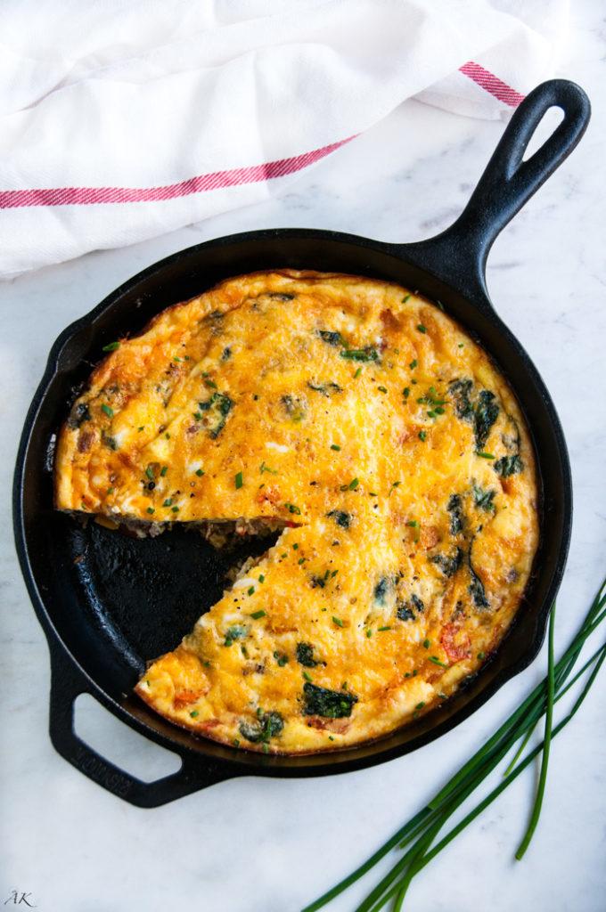 Sausage Spinach and Cheese Frittata| aberdeenskitchen.com