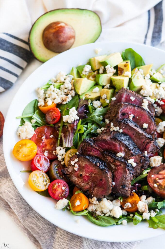 Steak Blue Cheese Avocado Salad | aberdeenskitchen.com