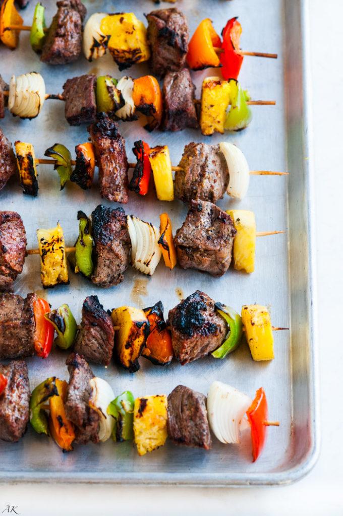 Grilled Pineapple Beef Kabobs | aberdeenskitchen.com