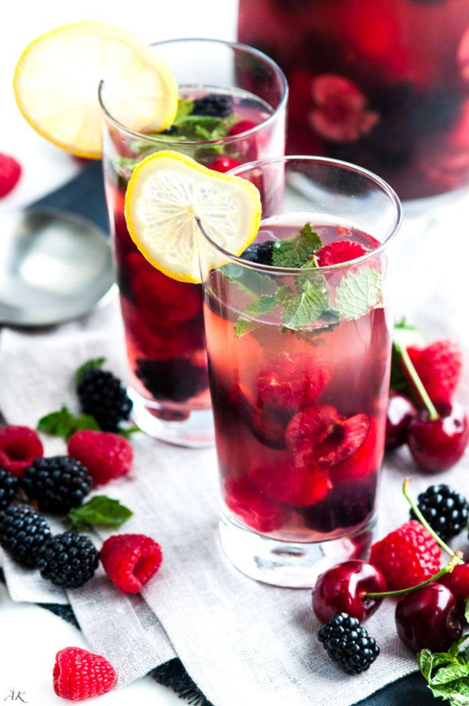 Mint Cherry Berry Summer Sangria | aberdeenskitchen.com