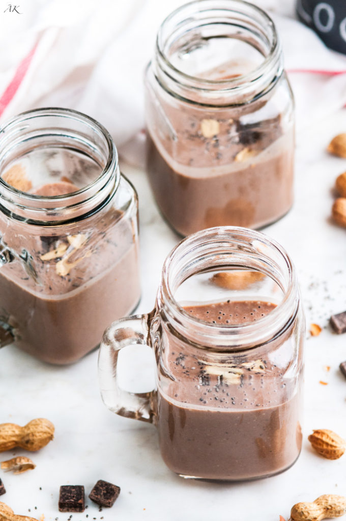 Healthy Chocolate Banana Peanut Butter Protein Shake | aberdeenskitchen.com