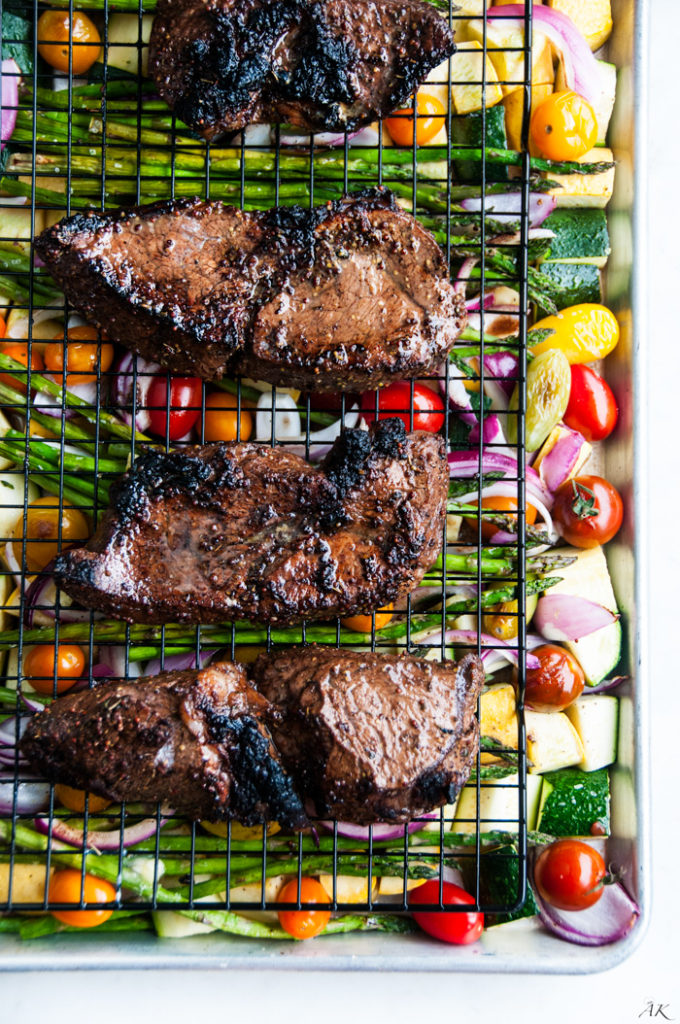 One Pan Balsamic Steak and Veggies | aberdeenskitchen.com