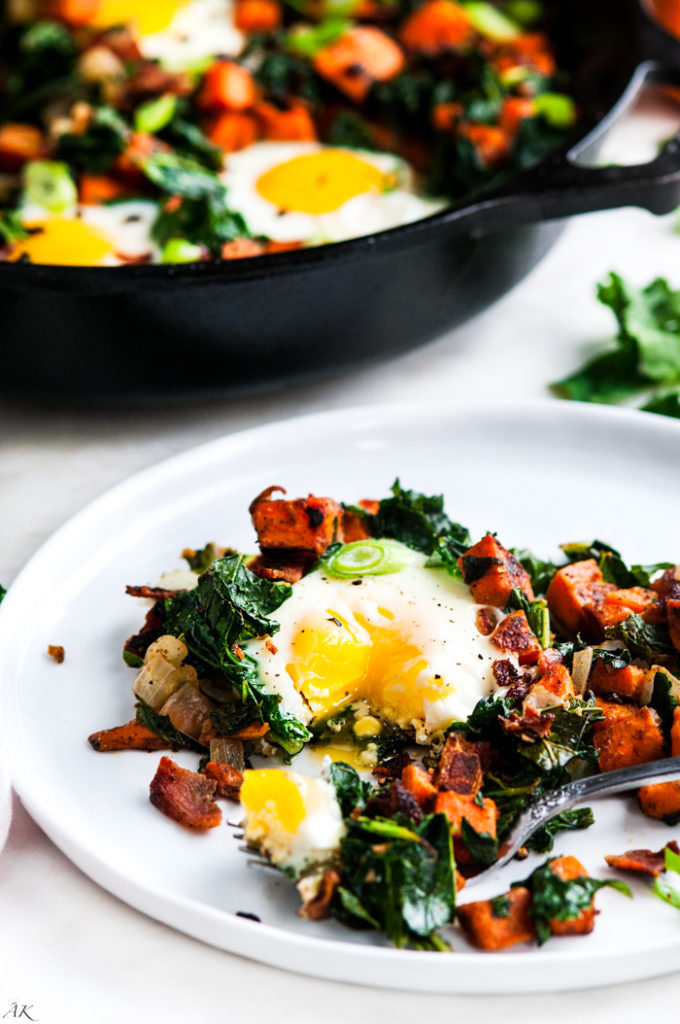 Skillet Sweet Potato Kale Hash | aberdeenskitchen.com
