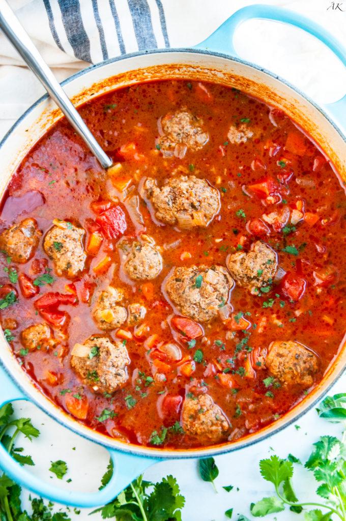 Albondigas Soup (Mexican Meatball Soup) | aberdeenskitchen.com