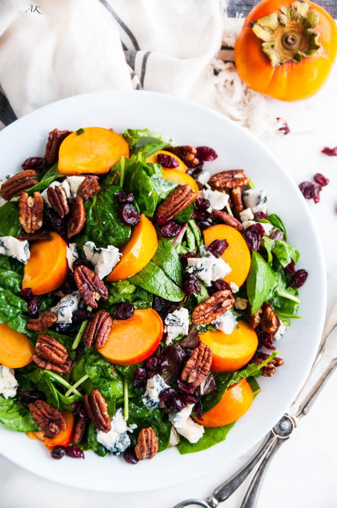 Candied Pecan Persimmon Gorgonzola Salad   aberdeenskitchen.com