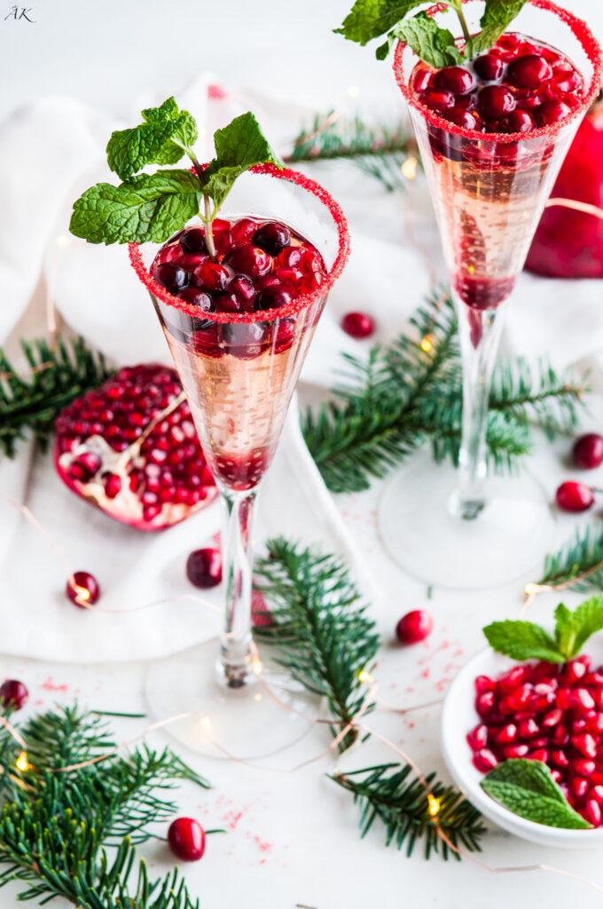Cranberry Pomegranate Prosecco Sparklers | aberdeenskitchen.com