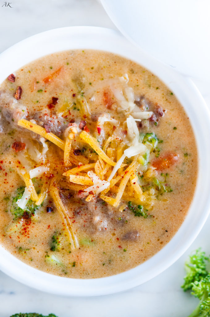 Spicy Broccoli Cheddar Sausage Soup | aberdeenskitchen.com