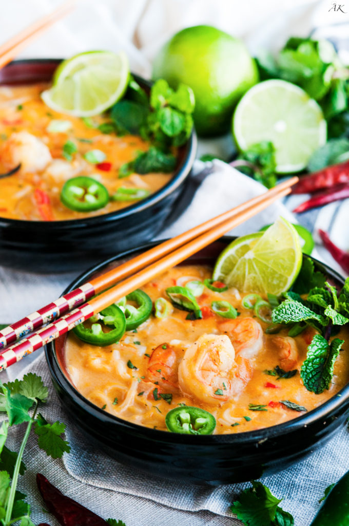 Thai Coconut Curry Shrimp Noodle Soup | aberdeenskitchen.com