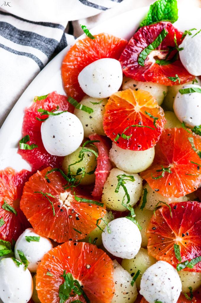 Winter Citrus Melon Caprese Salad | aberdeenskitchen.com