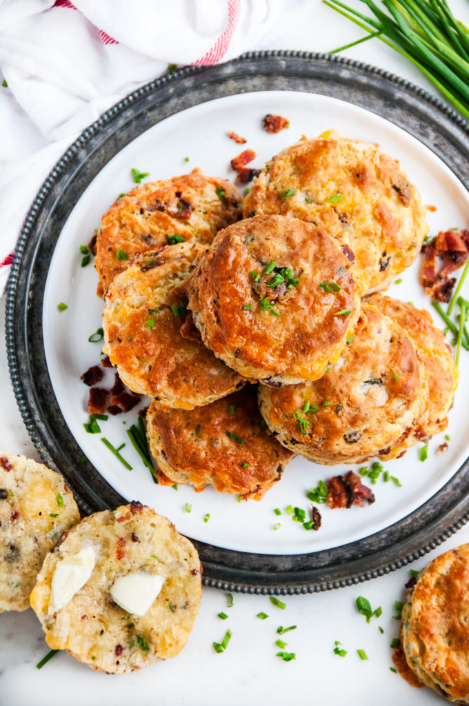 Flaky Bacon Cheddar Buttermilk Biscuits | aberdeenskitchen.com