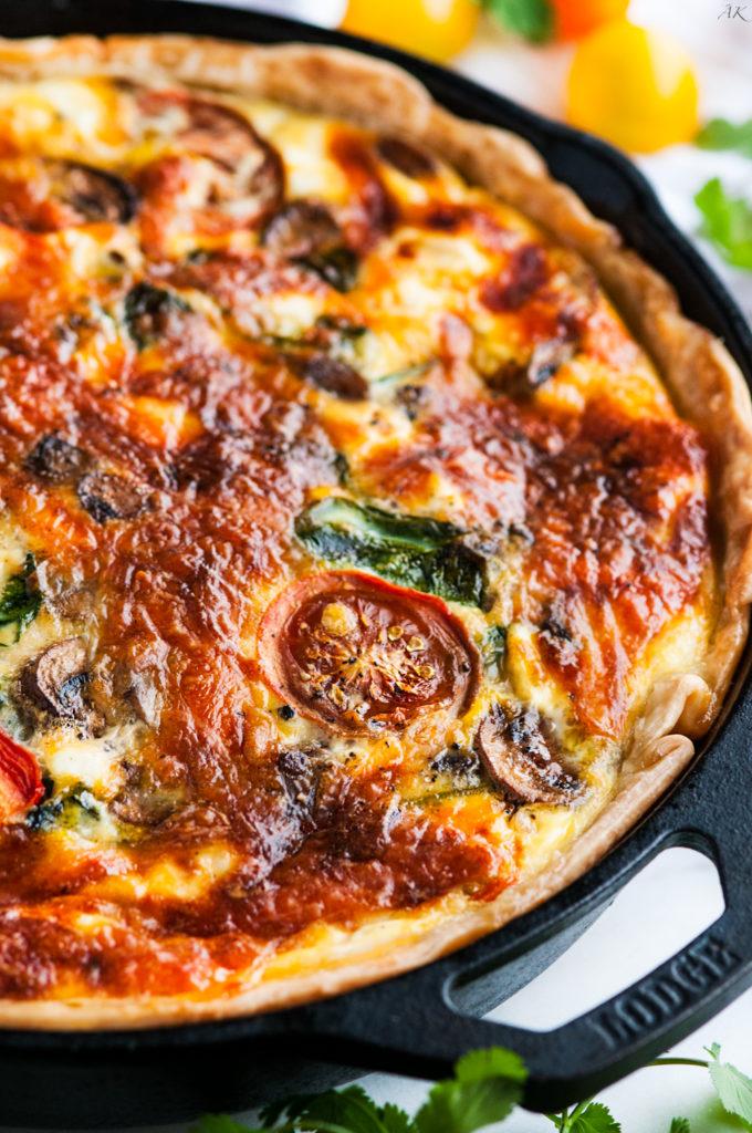 Cheesy Spinach Mushroom Tomato Quiche | aberdeenskitchen.com