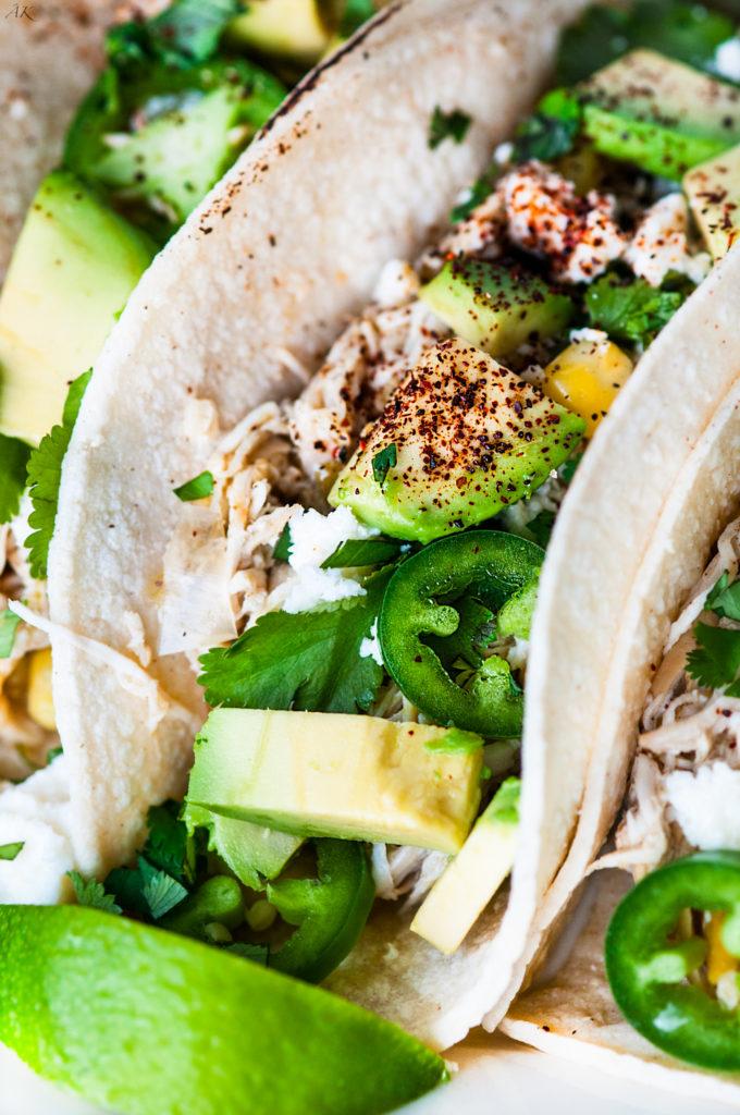 Slowcooker Salsa Verde Chicken Tacos | aberdeenskitchen.com