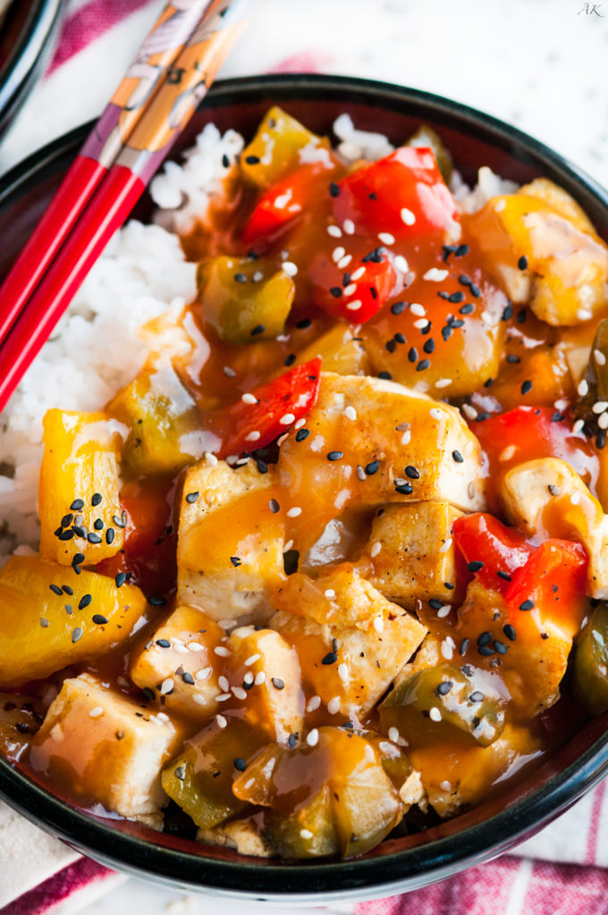 Sweet and Sour Tofu Rice Bowls | aberdeenskitchen.com