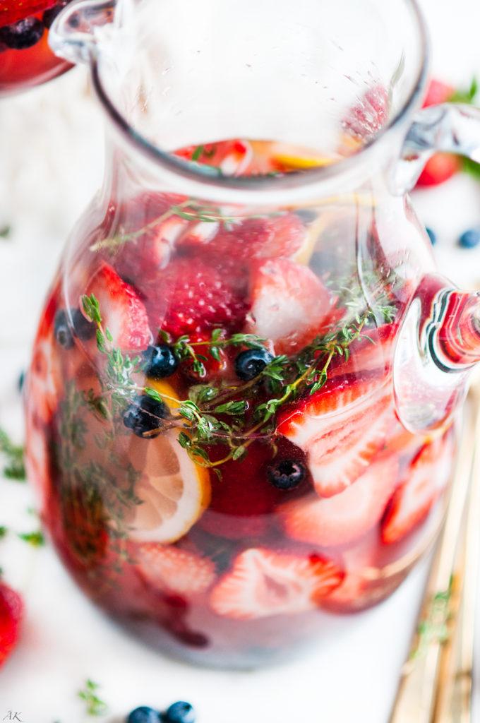 Strawberry Blueberry Thyme Spring Sangria   aberdeenskitchen.com