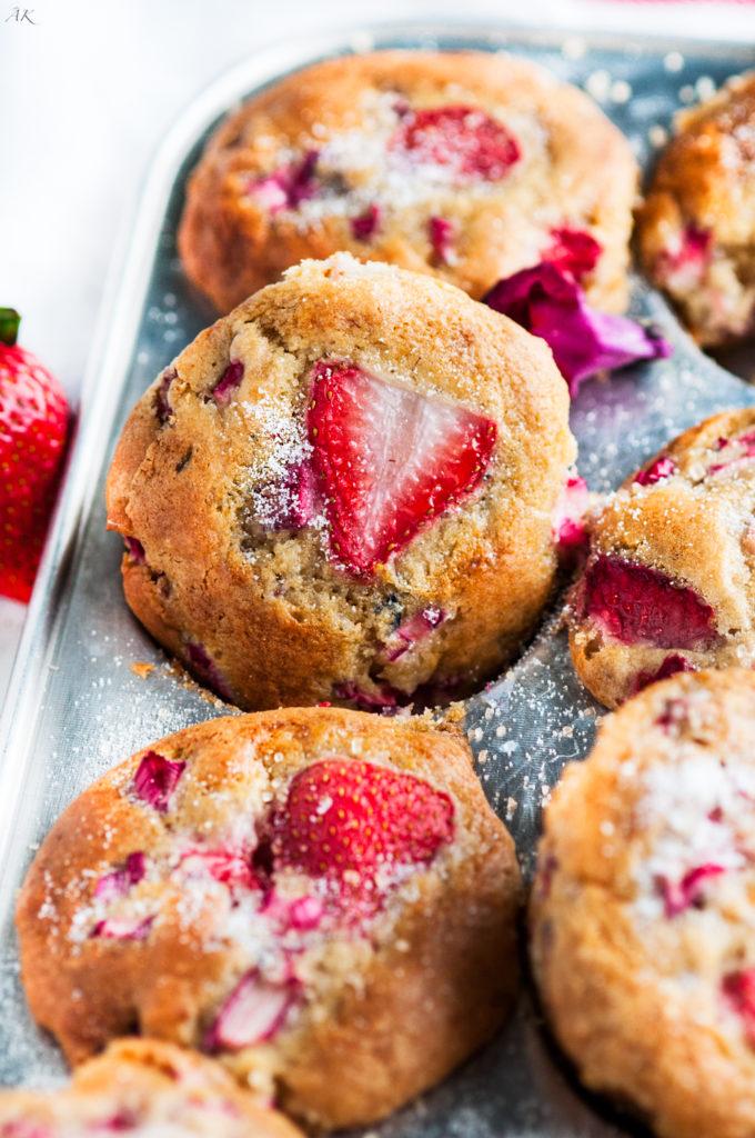 Strawberry Rhubarb Muffins | aberdeenskitchen.com