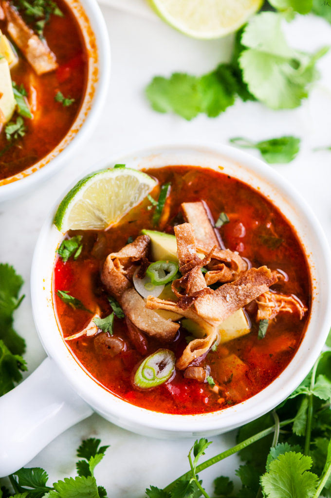 Chicken Tortilla Soup with Homemade Tortilla Strips