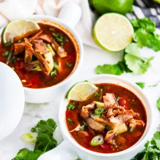 Chicken Tortilla Soup with Homemade Tortilla Strips