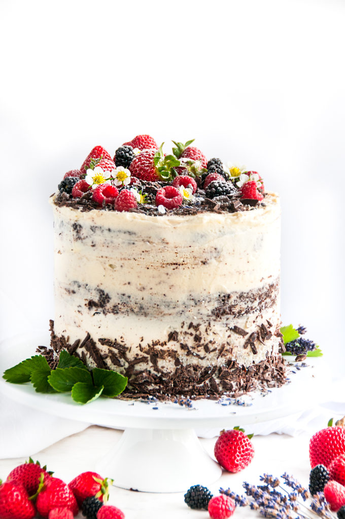 Skyscraper Chocolate Cake with Early Grey Lavender Cream Cheese Frosting | aberdeenskitchen.com