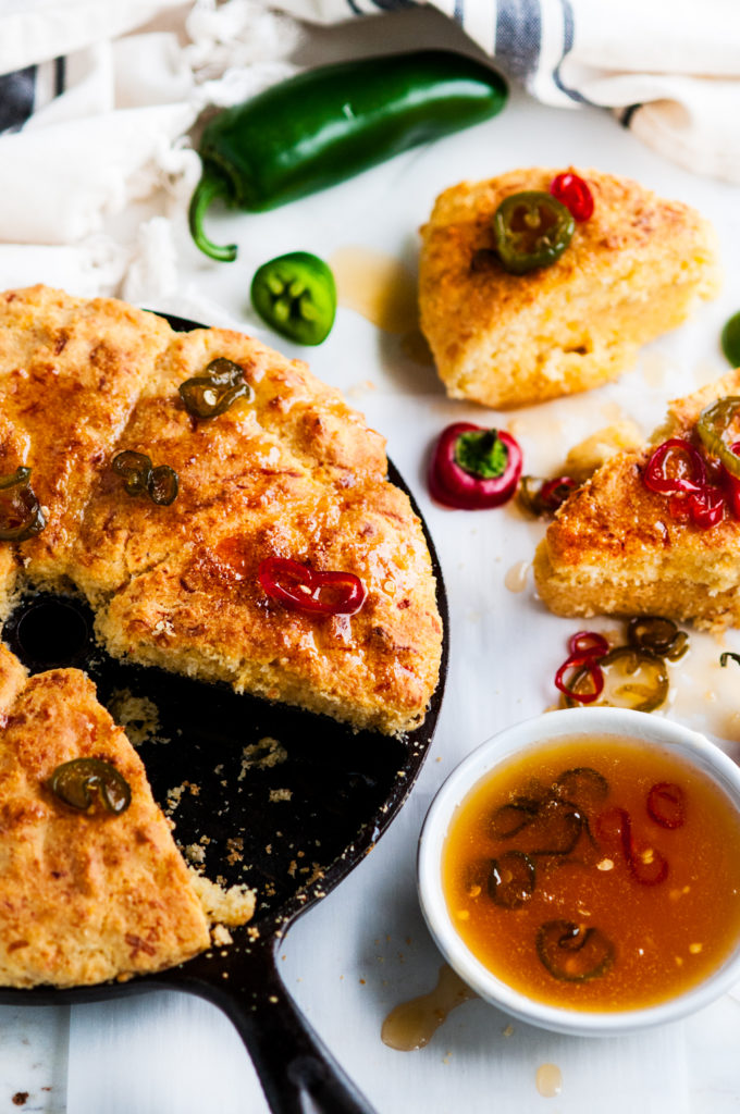 Cheesy Cornbread with Jalapeño Chili Honey Butter | aberdeenskitchen.com