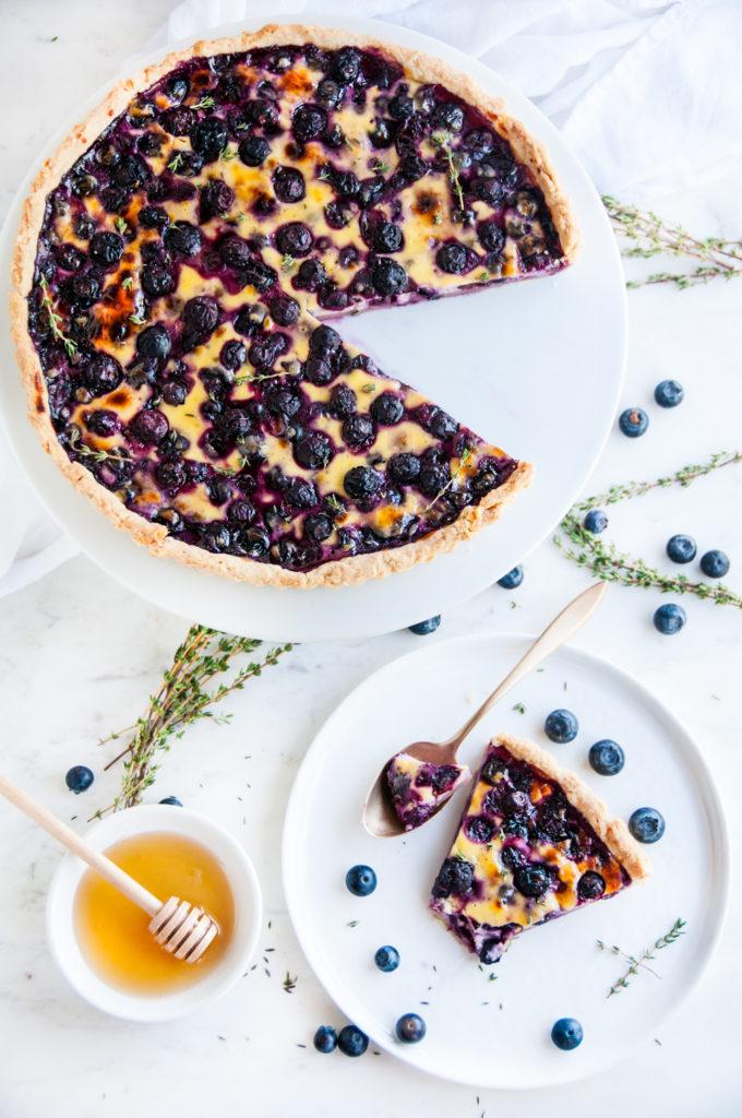 Honey Blueberry Yogurt Custard Tart | aberdeenskitchen.com