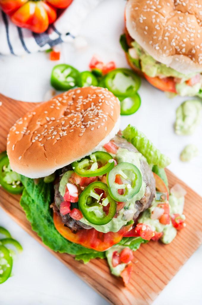 Jalapeño Pepper Jack Burgers with Garlic Avocado Aioli | aberdeenskitchen.com