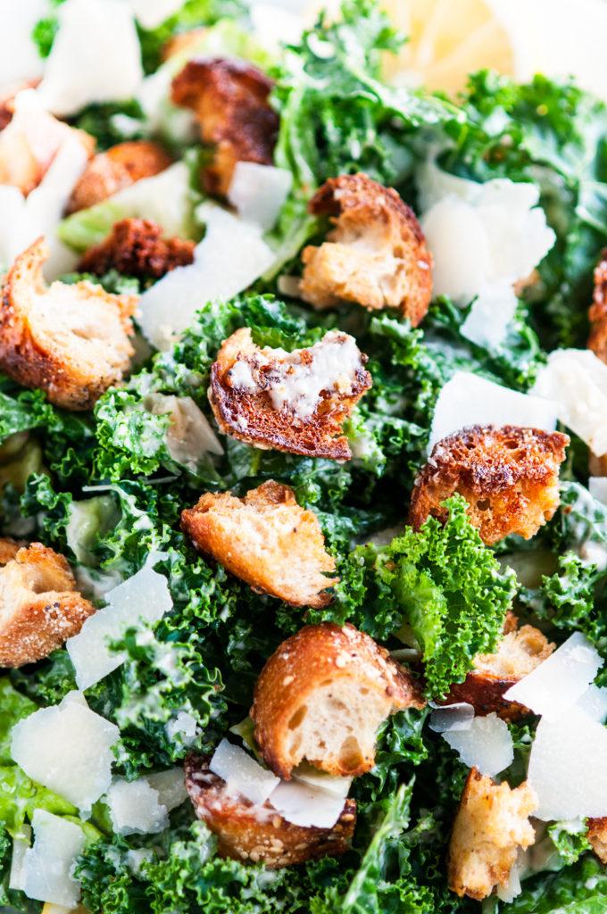 Kale Caesar Salad with Homemade Dressing and Garlic Parmesan Croutons | aberdeenskitchen.com