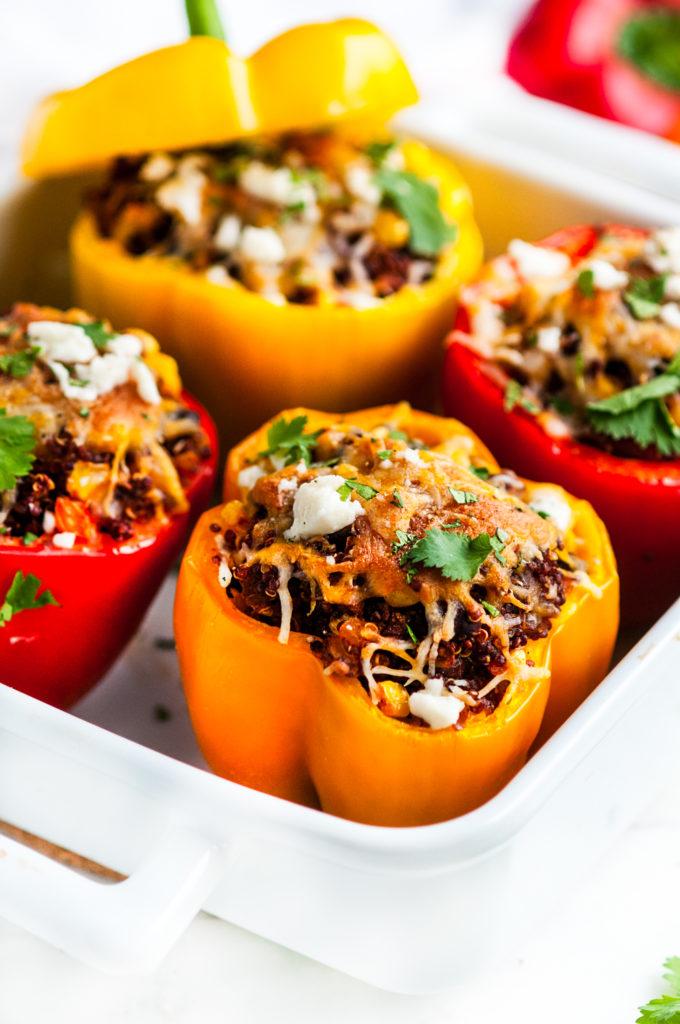 Southwest Quinoa Stuffed Bell Peppers | aberdeenskitchen.com
