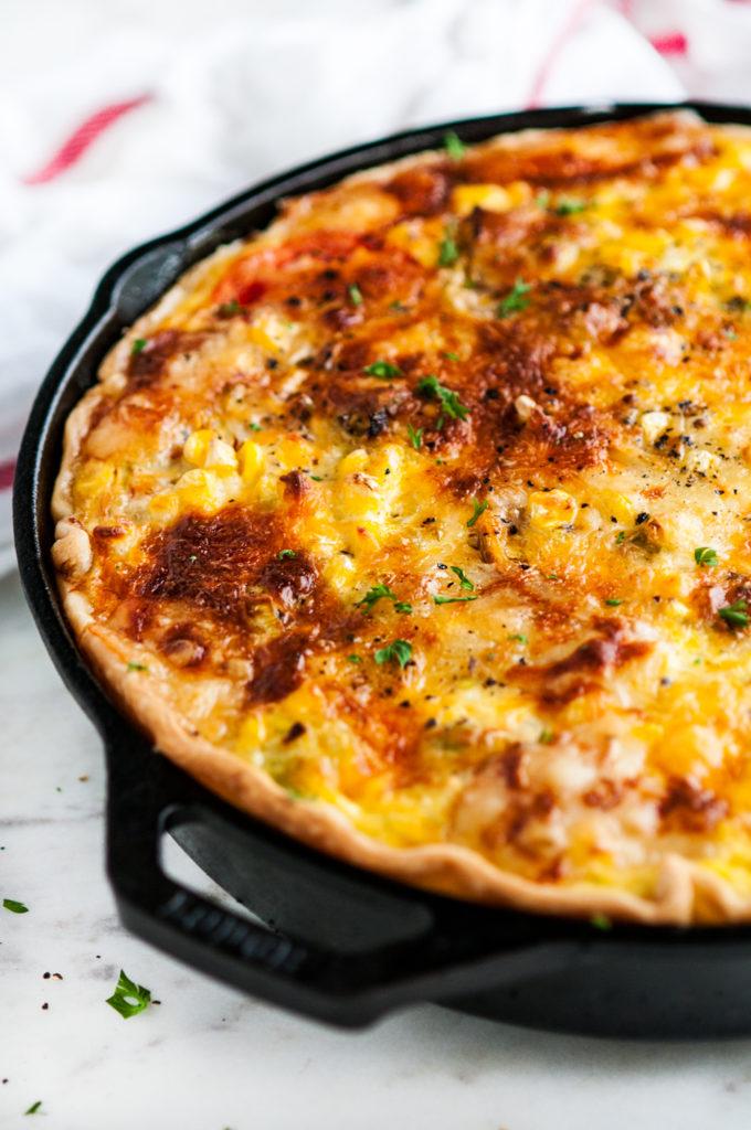Heirloom Tomato Corn Leek Quiche   aberdeenskitchen.com