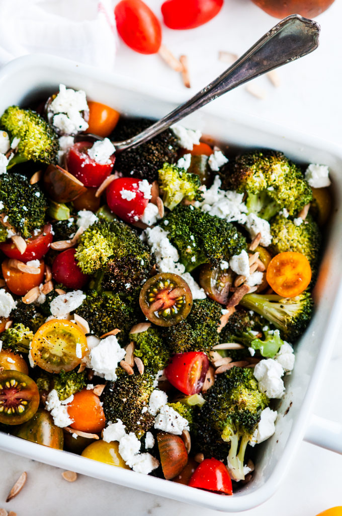 Roasted Broccoli Goat Cheese Salad | aberdeenskitchen.com